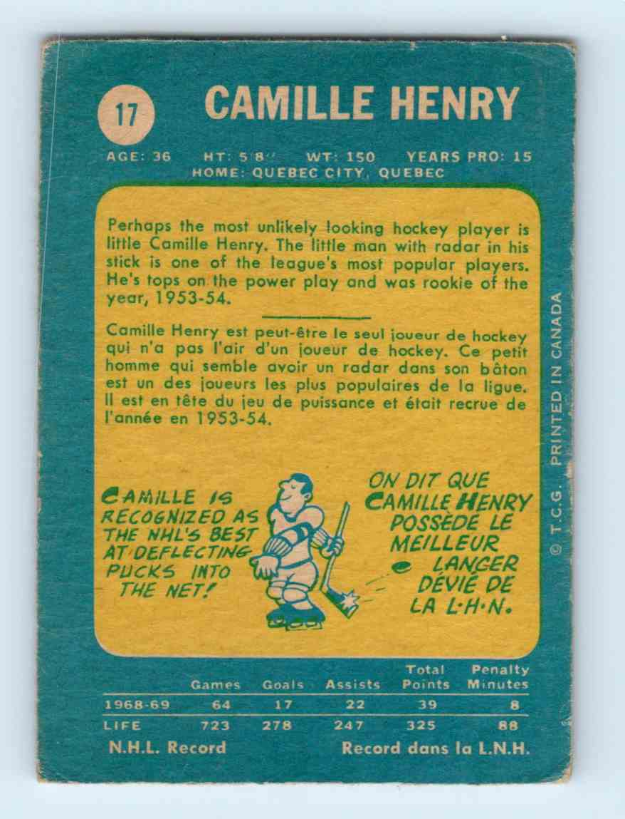 1969-70 Topps ! Camille Henry #17 card back image