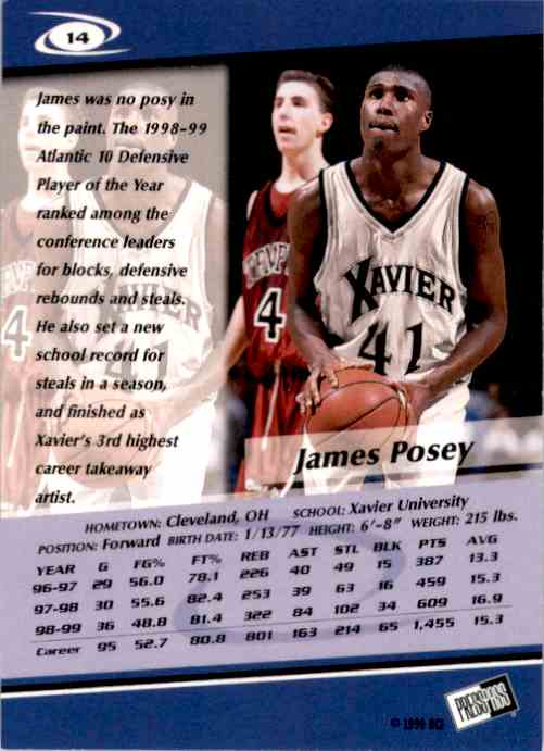 1999-00 Press Pass James Posey #14 card back image
