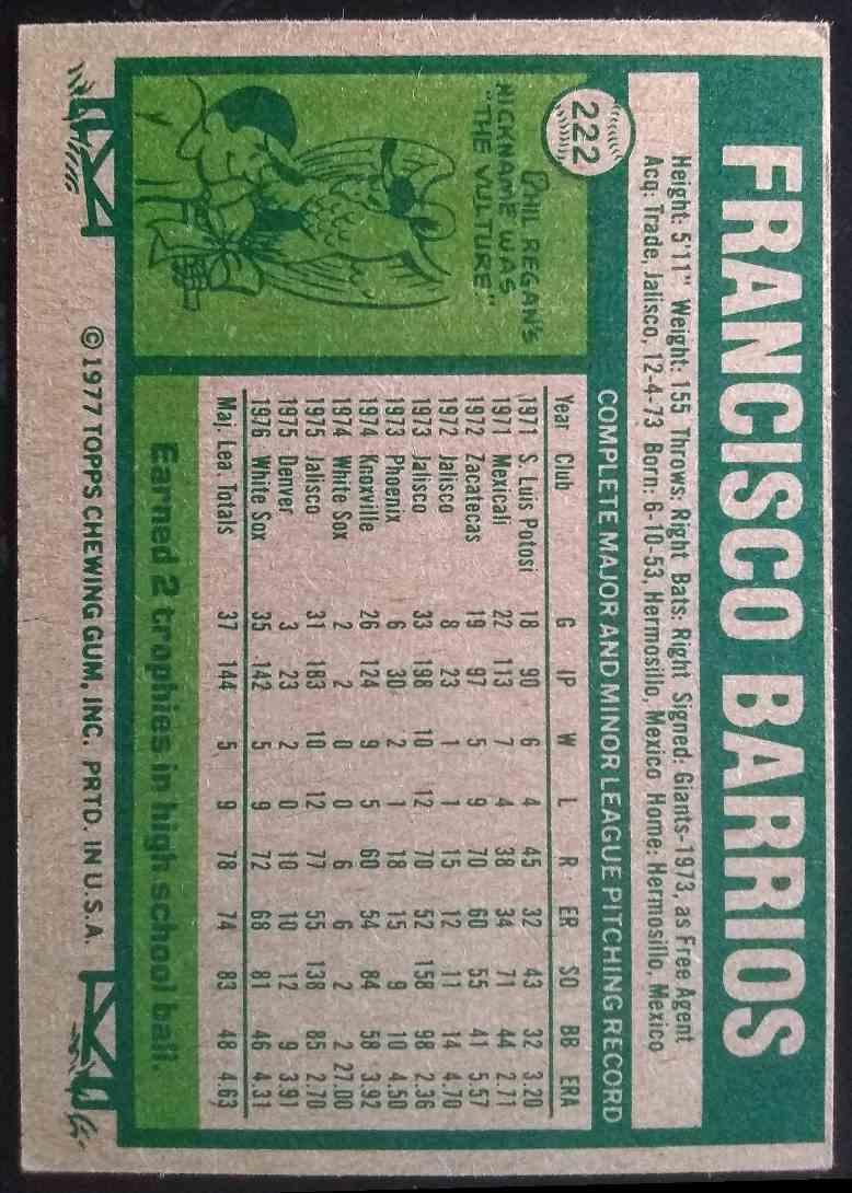 1977 Topps Francisco Barrios #222 card back image
