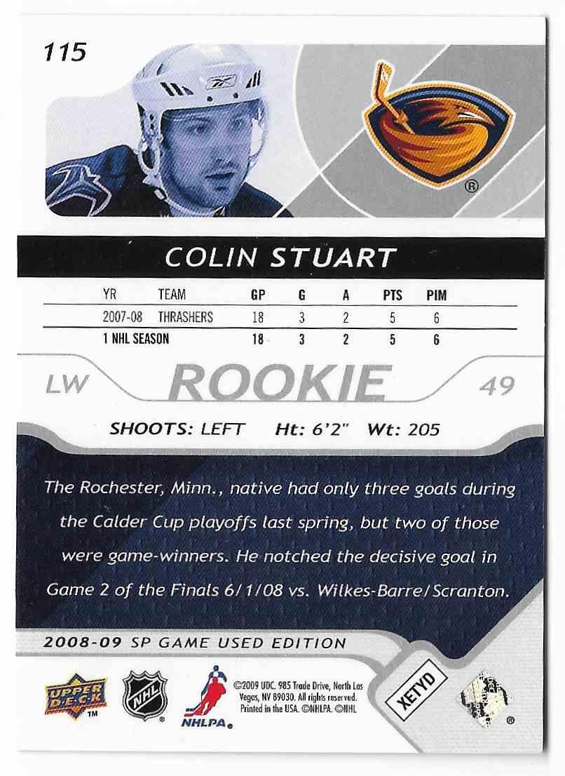 2008-09 SP Game Used Colin Stuart #115 card back image