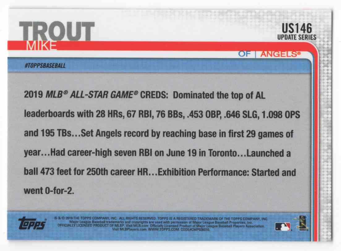 2019 Topps Update Mike Trout As #US146 card back image