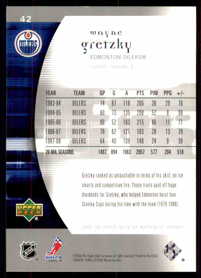 2005-06 SP Authentic Wayne Gretzky #42 card back image