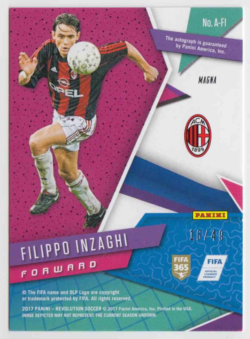 2017 Panini Revolution Magna Filippo Inzaghi #A-FI card back image