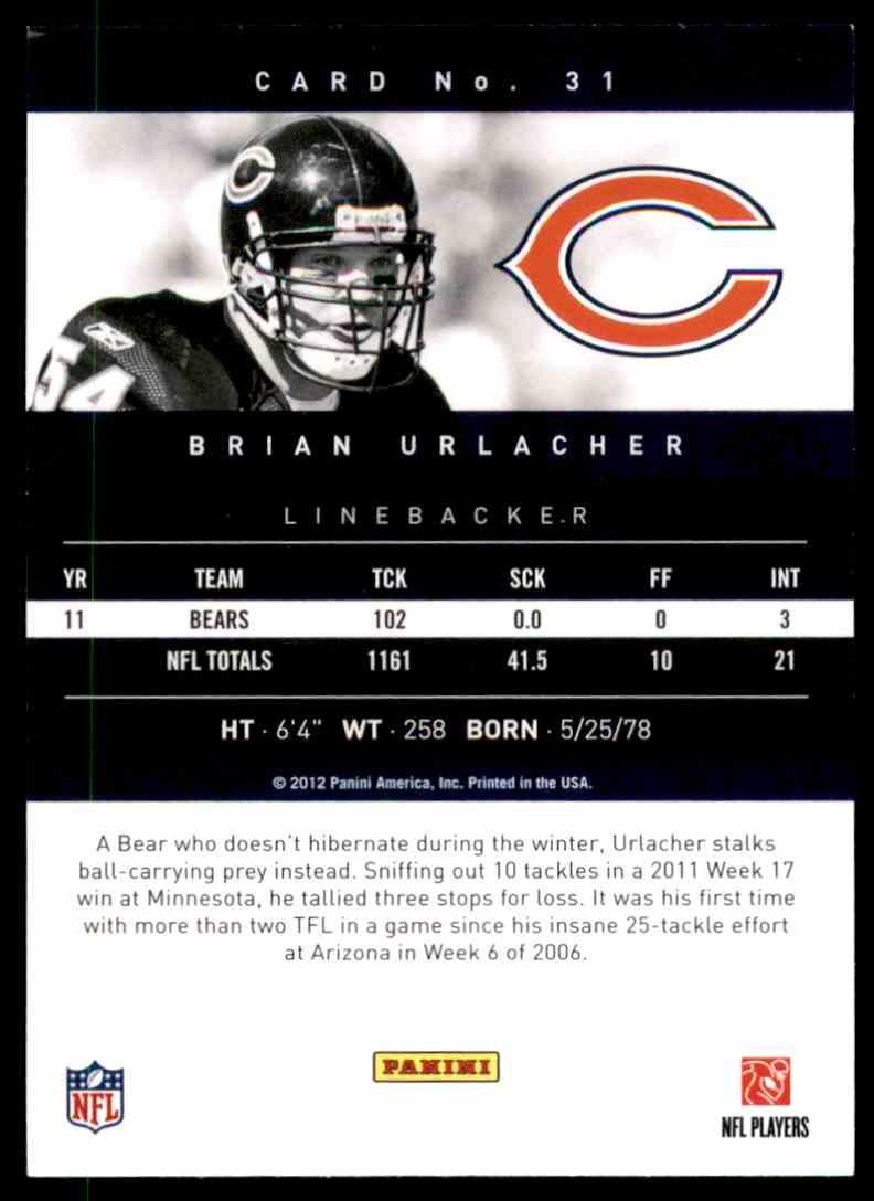 2012 Prestige Brian Urlacher #31 card back image