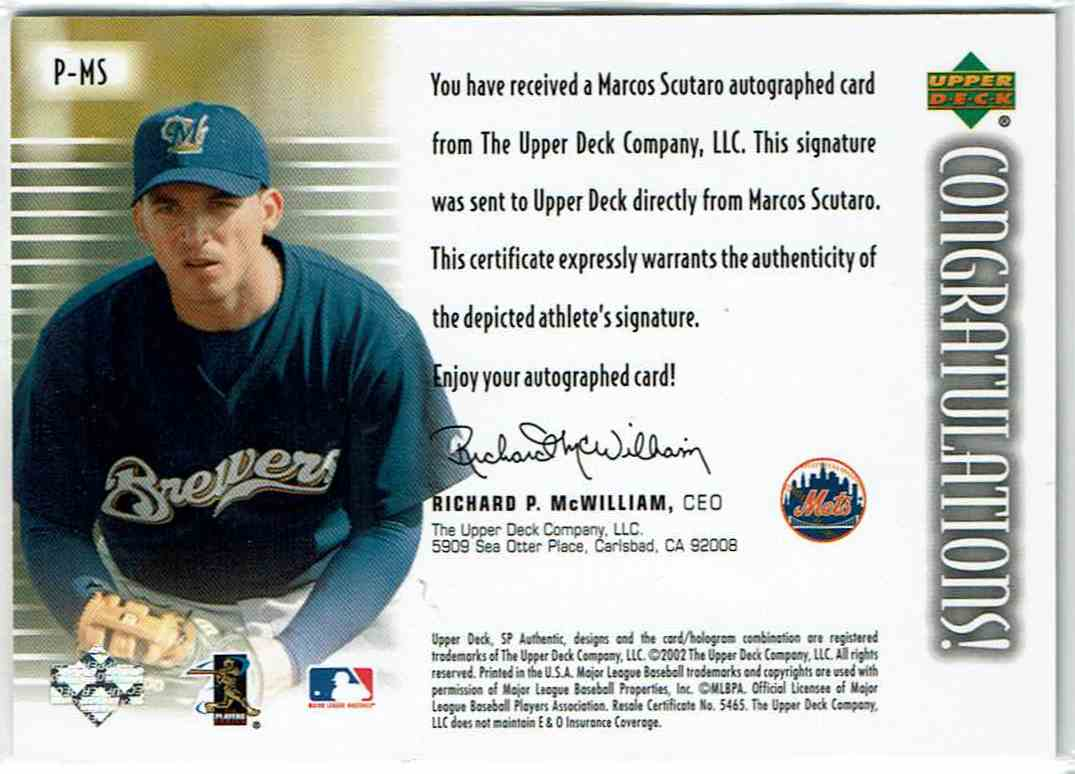 2002 SP Authentic Prospects Signatures Marco Scutaro #P-MS card back image
