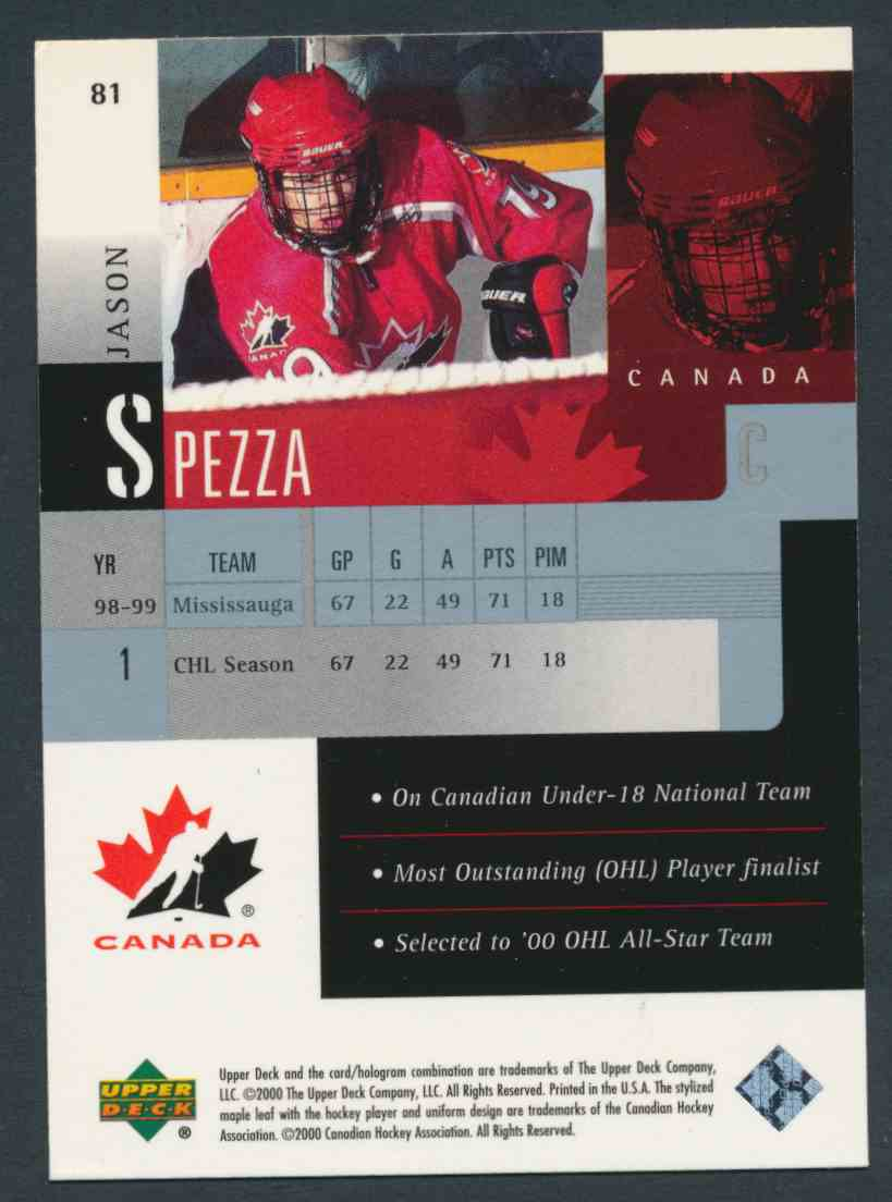 1999-00 Upper Deck Jason Spezza #81 card back image