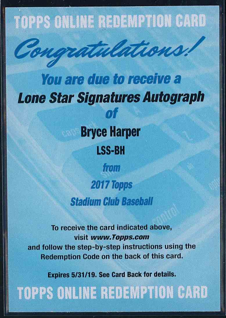 2017 Topps Stadium Club Lone Star Signatures Autograph Bryce Harper #LSS-BH card front image
