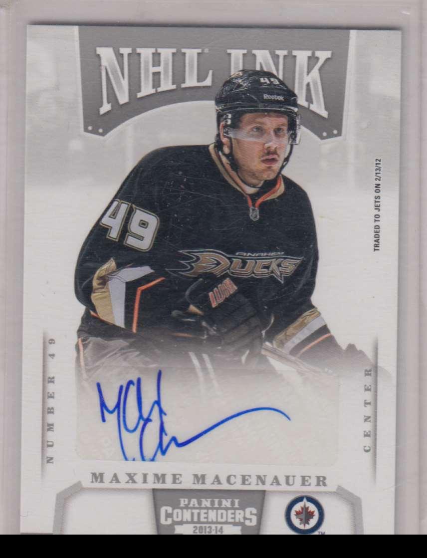2013-14 Panini Contenders NHL Ink Maxime Macenauer #I-MXM card front image