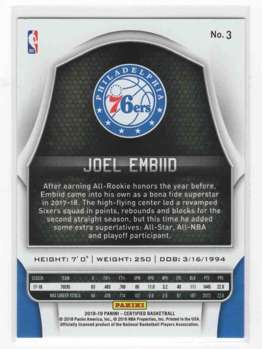 2018-19 Panini Certified Joel Embiid #3 card back image