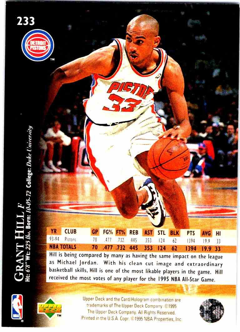 1995 96 Upper Deck Grant Hill 233 On Kronozio