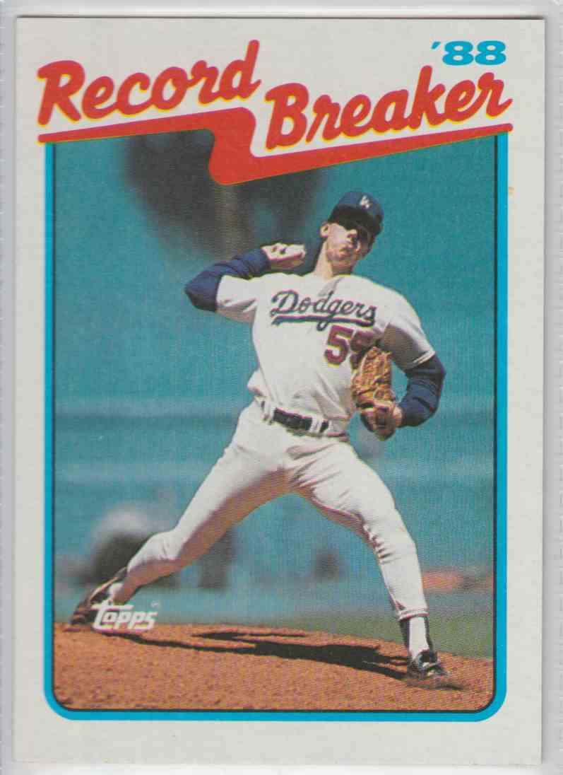 1989 Topps Record Breakers Orel Hershiser #5 card front image
