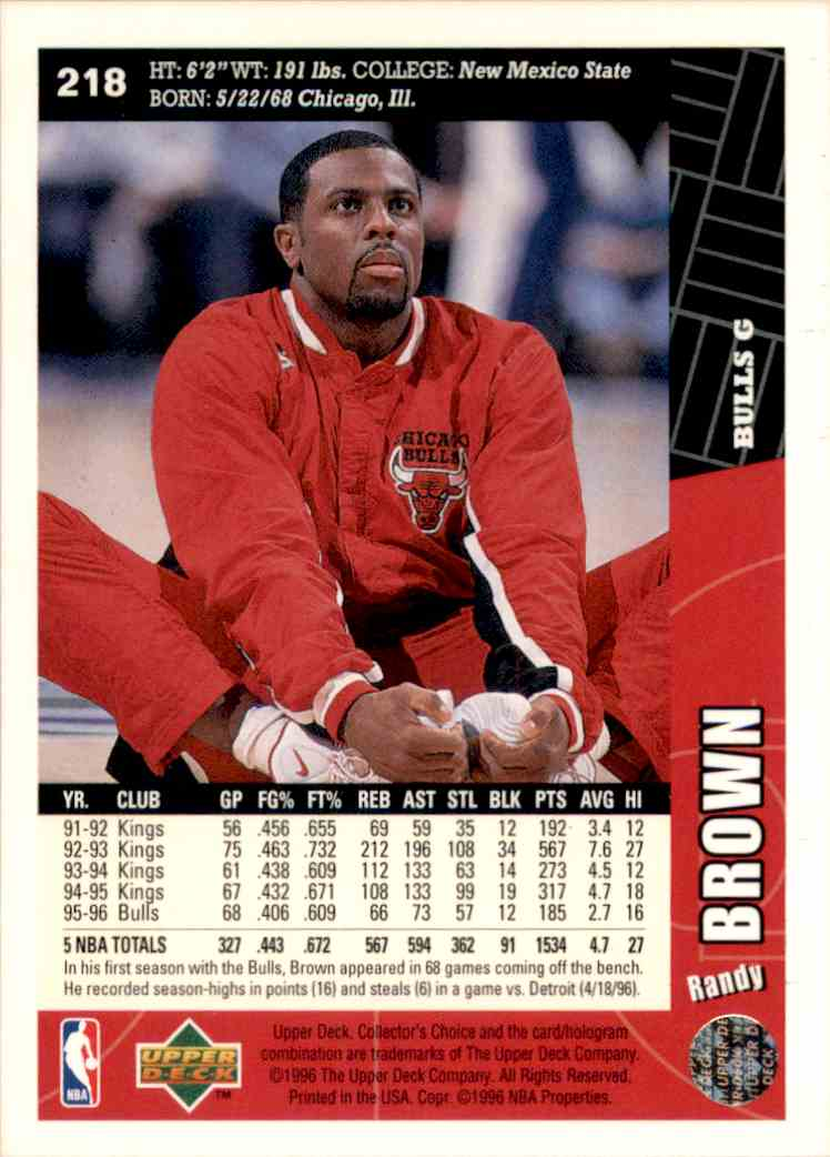 1996-97 Collector's Choice Randy Brown #218 card back image