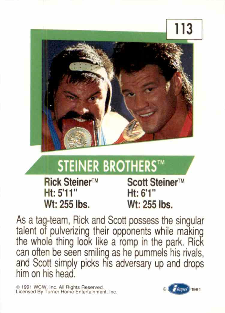 1991 Wcw Steiner Brothers #113 card back image