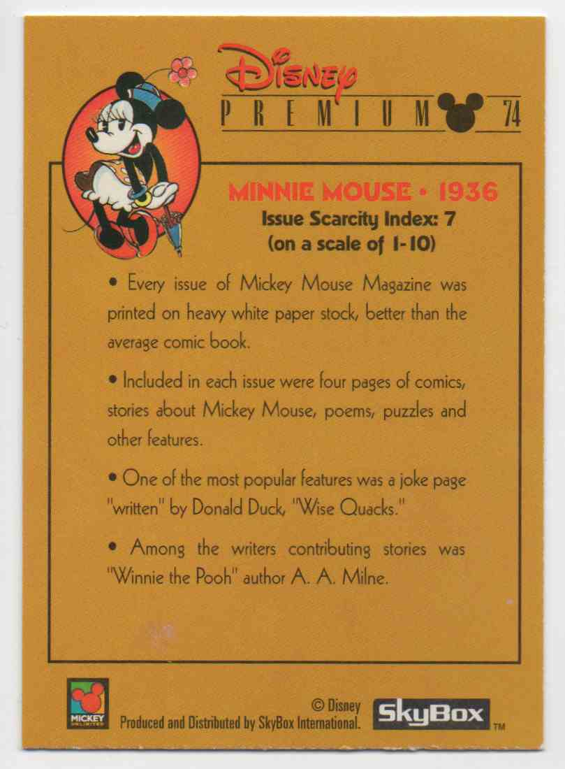 1995 Skybox Disney Premium Minnie Mouse-1936 #74 card back image