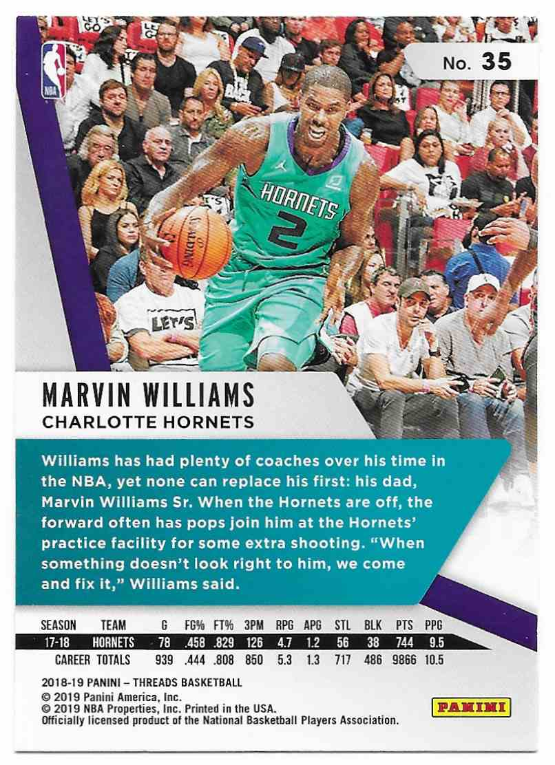 2018-19 Panini Threads Marvin Williams #35 card back image