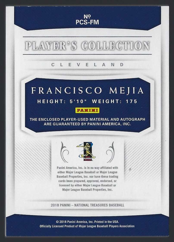 2018 Panini National Treasures Francisco Mejia #PCSFM card back image