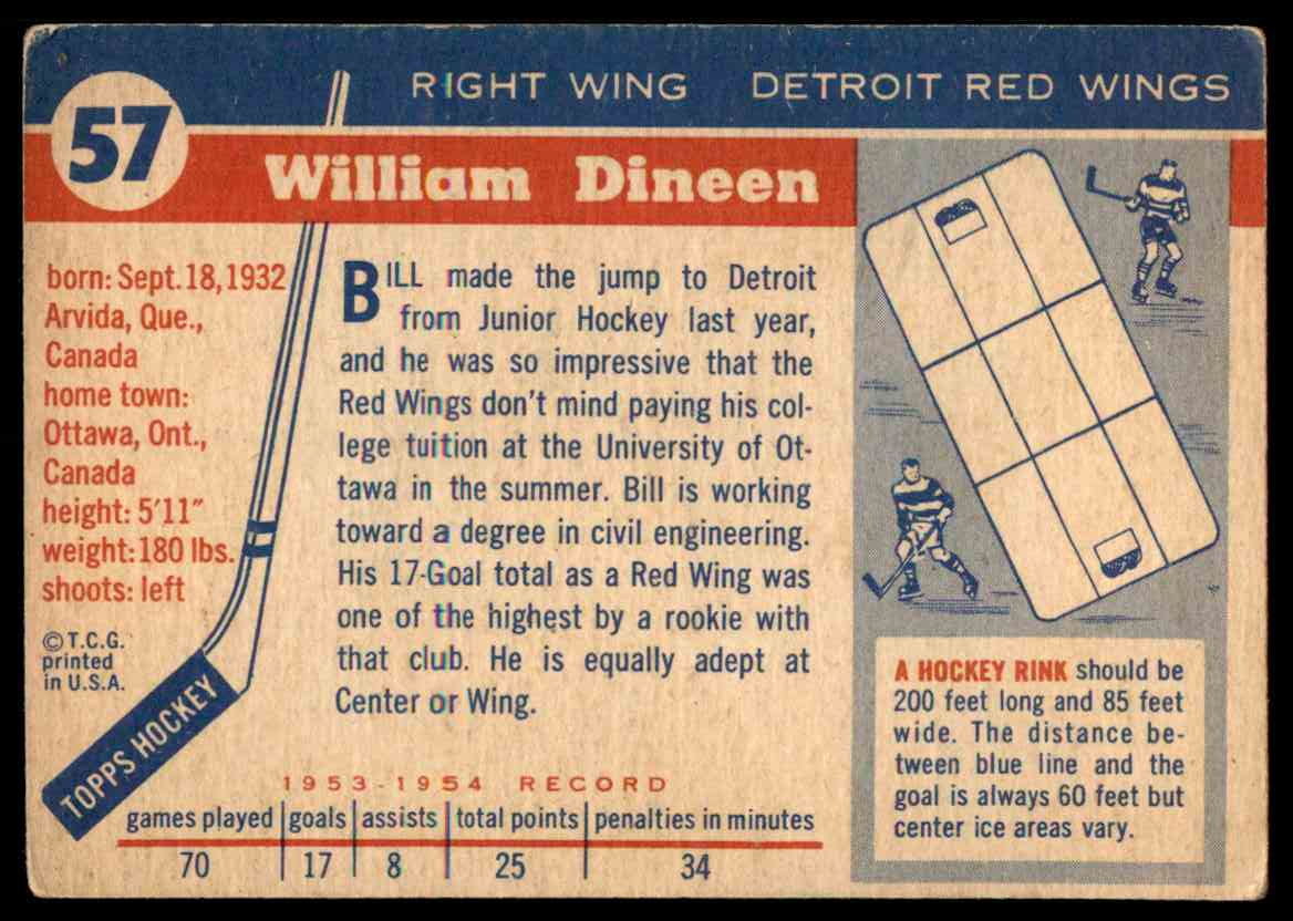 1954-55 Topps Bill Dineen #57 card back image