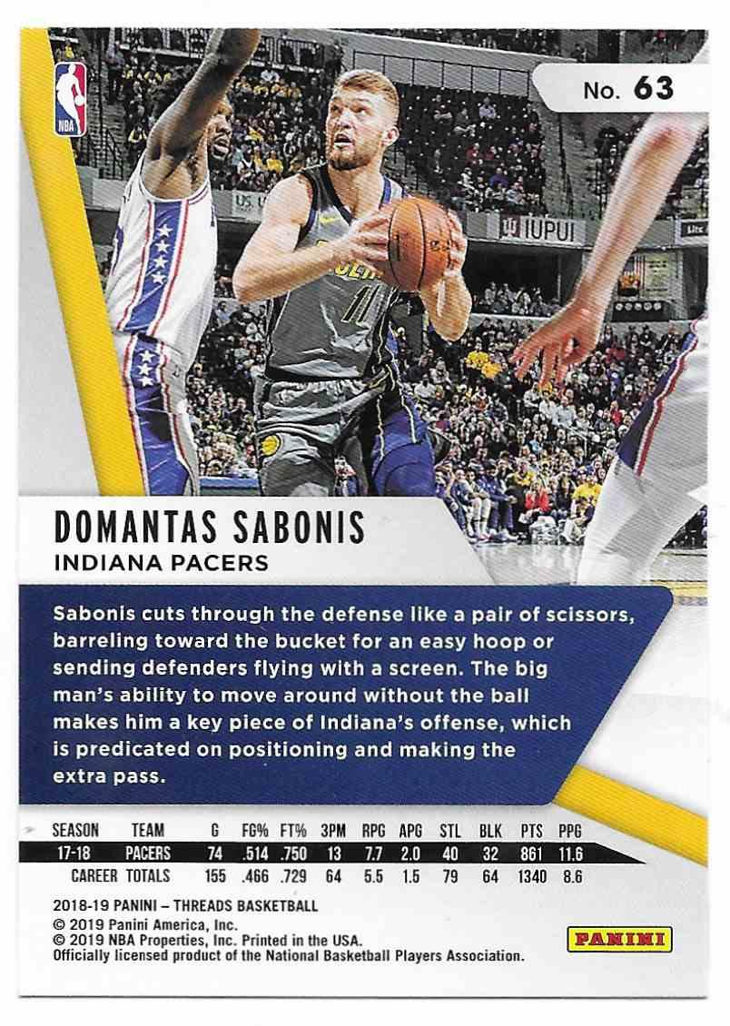 2018-19 Panini Threads Domantas Sabonis #63 card back image