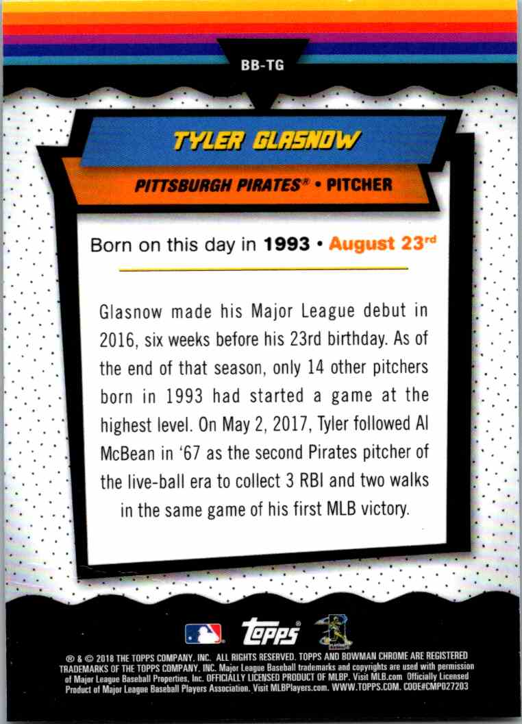 2018 Bowman Chrome Bowman Birthdays Tyler Glasnow #BB-TG card back image