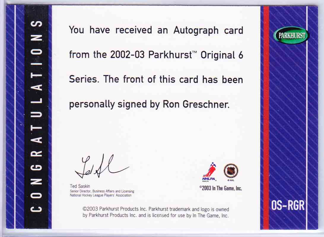 2003-04 Parkhurst Original Six New York Peanut Butter Autographs Ron Greschner #OS-RGR card back image