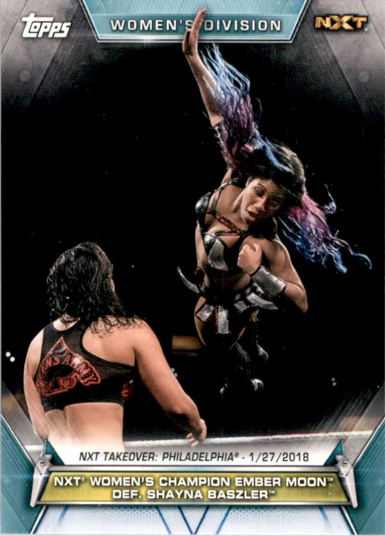 2019 Topps Wwe Women's Division Women's Champion Ember Moon Def. Shayna Baszler #62 card front image