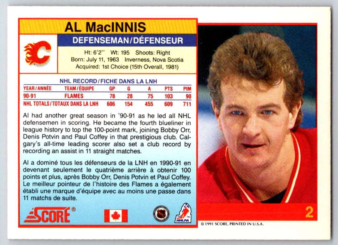 1991-92 Score Canadian Bilingual Al MacInnis #2 card back image