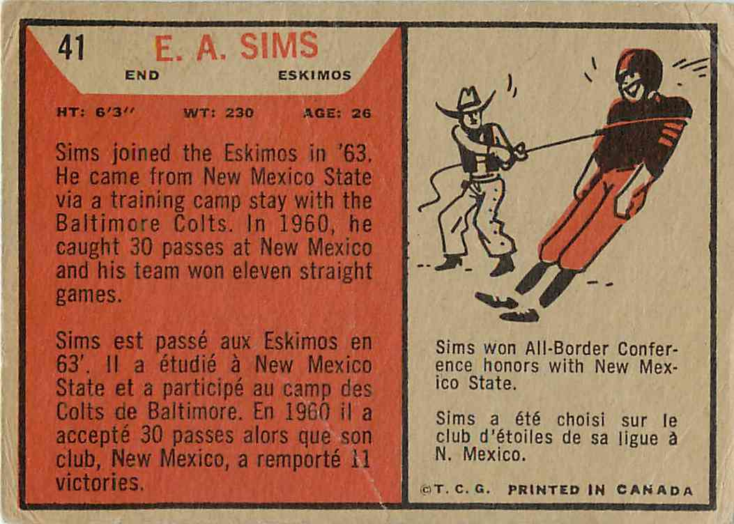 1965 Topps E.A. Sims #41 card back image