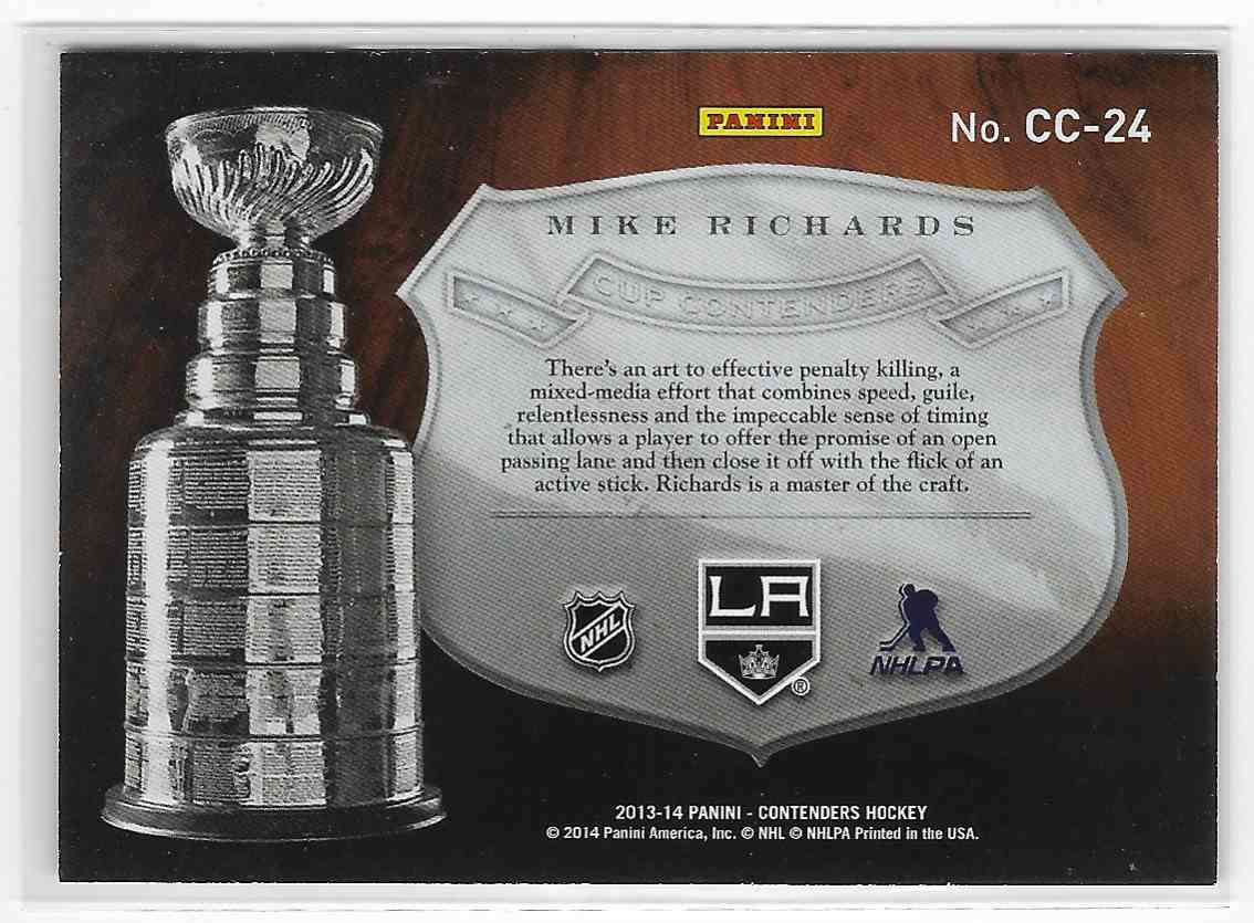 2013-14 Panini Contenders Mike Richards #CC-24 card back image