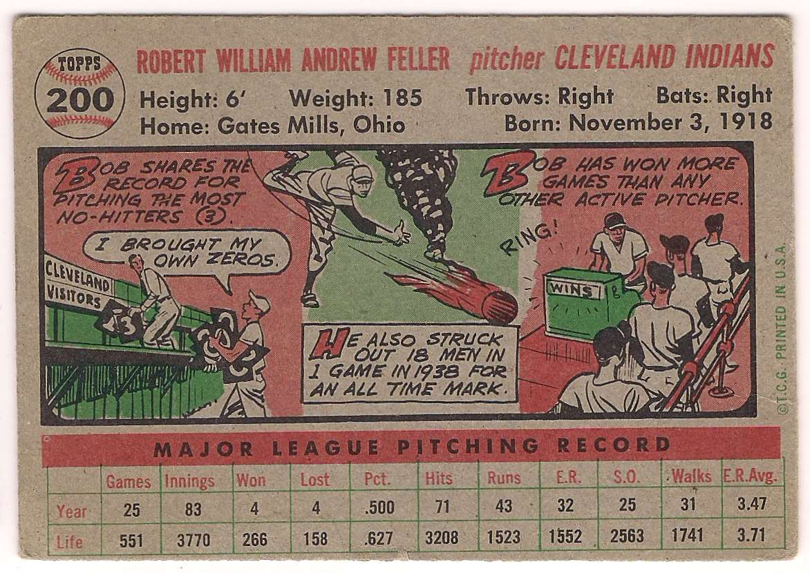 1956 Topps Bob Feller Autographed #200 card back image