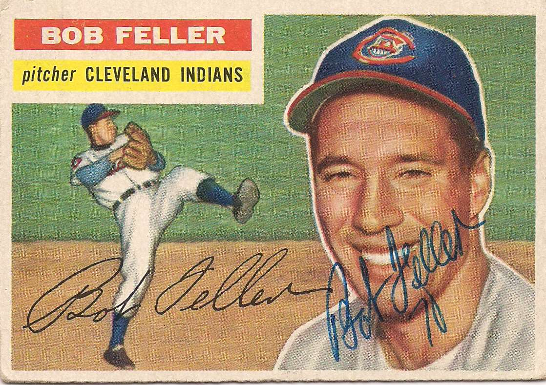 1956 Topps Bob Feller Autographed #200 card front image