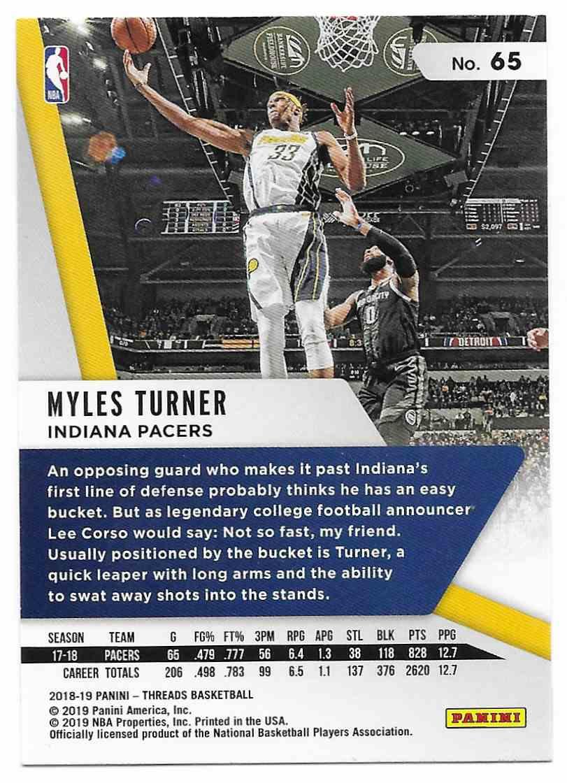 2018-19 Panini Threads Myles Turner #65 card back image