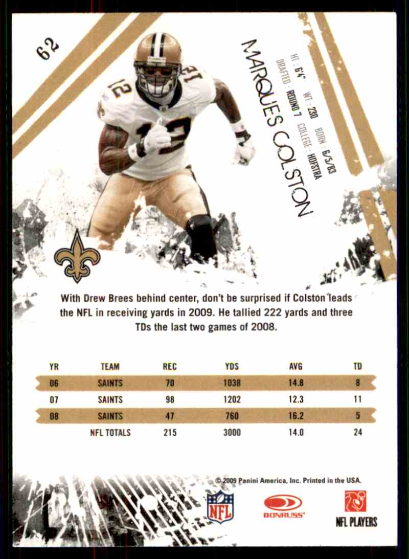 2009 Rookies & Stars Marques Colston #62 card back image