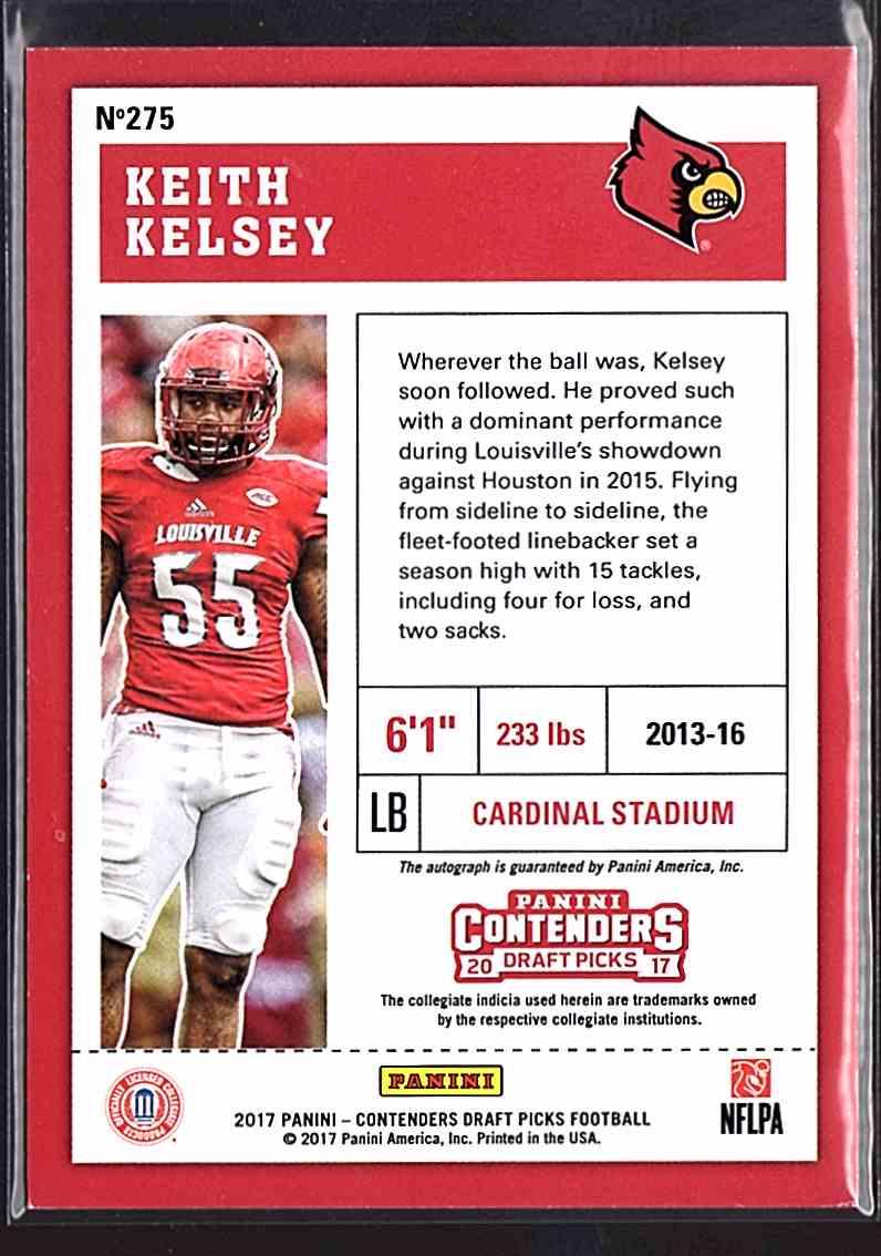2017 Panini Contenders Draft Picks Keith Kelsey #275 card back image