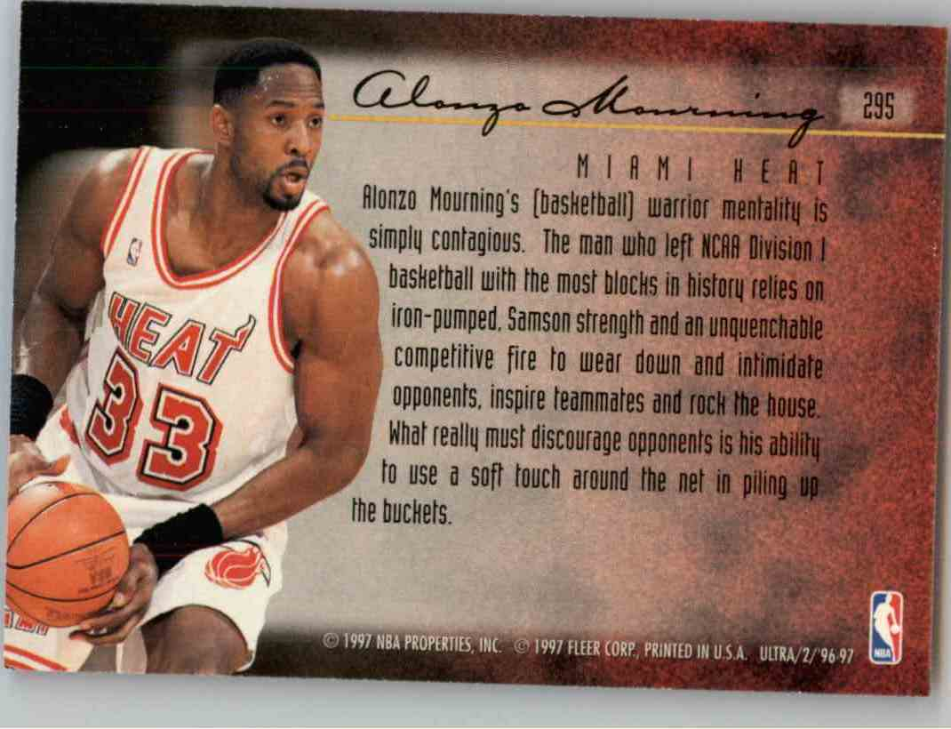 1996-97 Fleer Ultra Alonzo Mourning #295 card back image