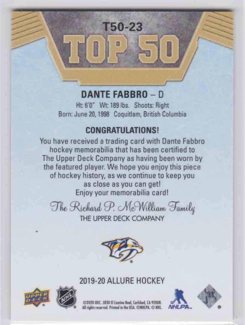 2019-20 Upper Deck Hockey Allure Dante Fabbro - Top 50 #T50-23 card back image