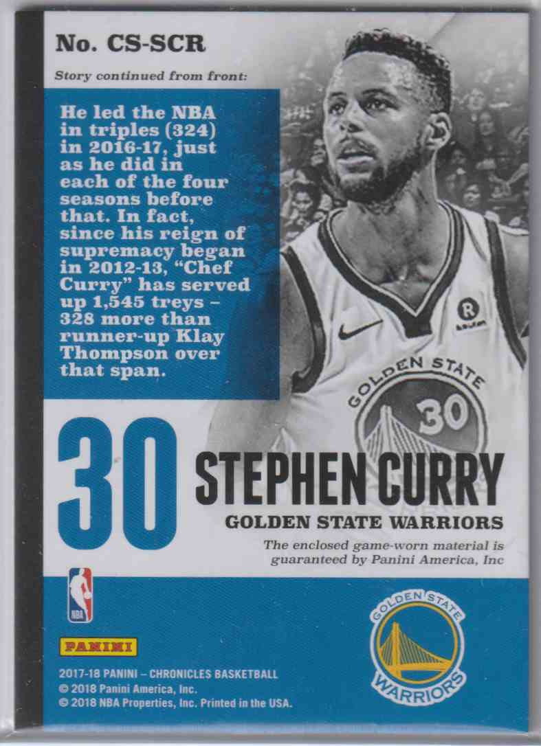 2017-18 Panini Chronicles Swatches Pink Stephen Curry #CS-SCR card back image