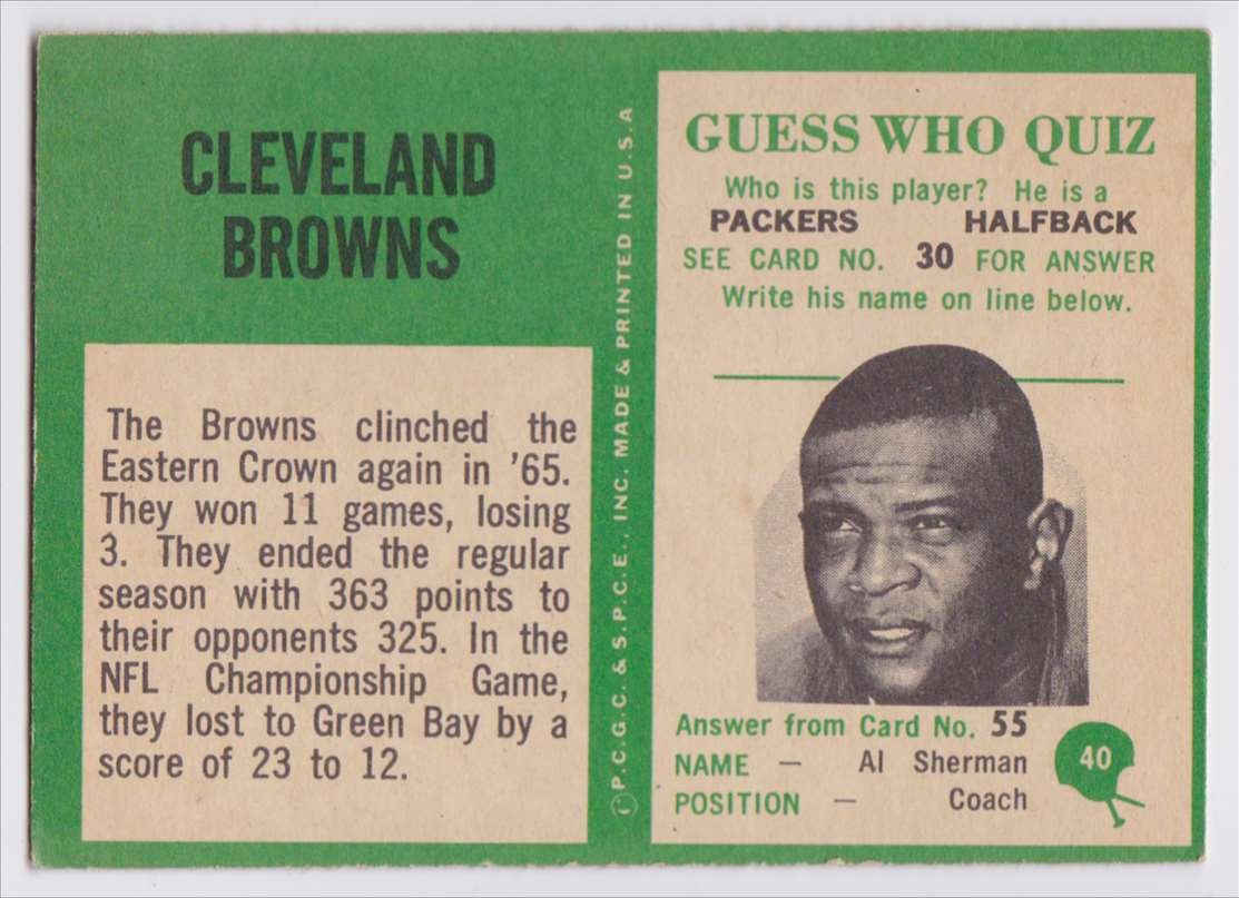 1966 Pcgc Browns Team #40 card back image