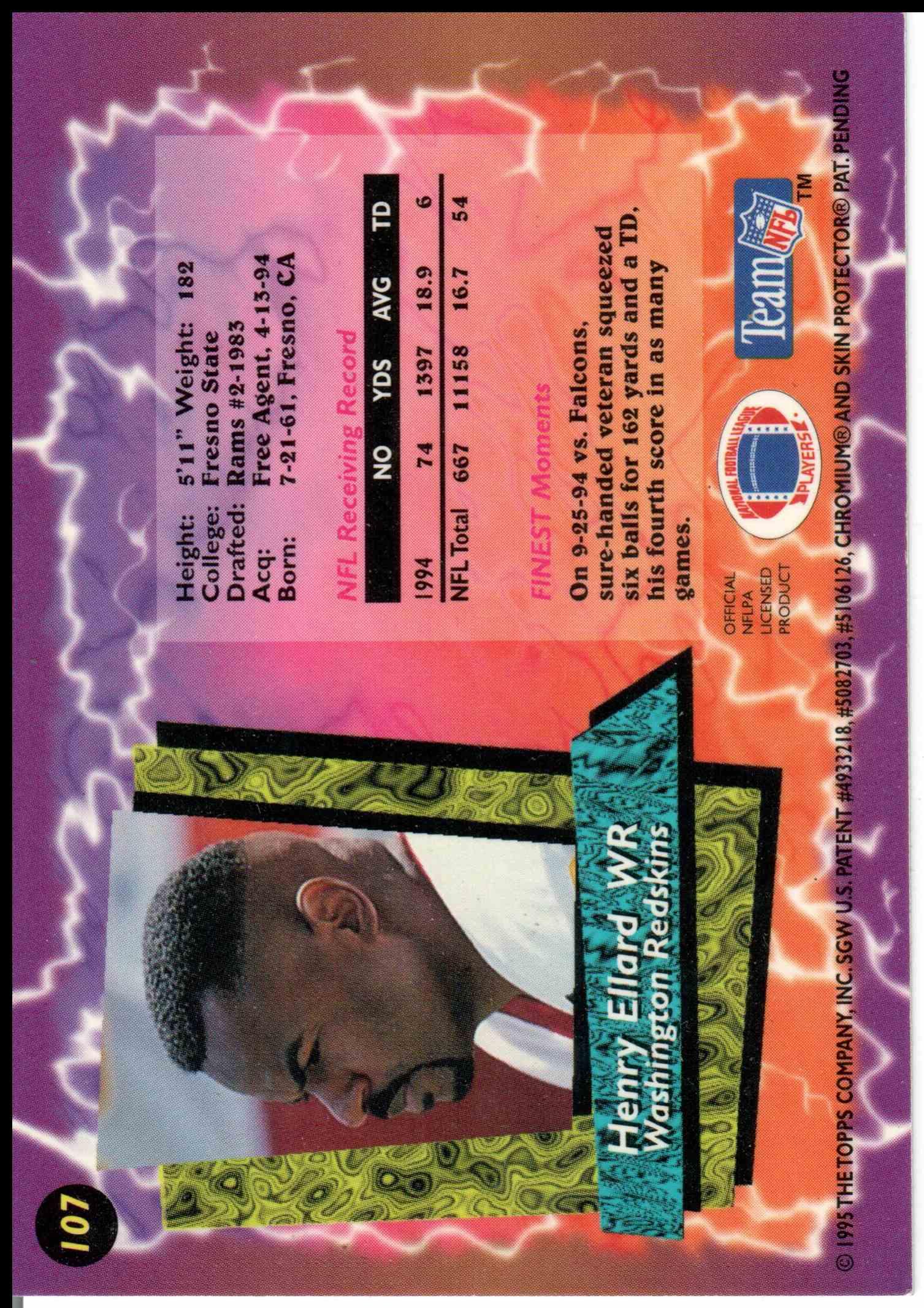 1995 Topps Finest Henry Ellard #107 card back image