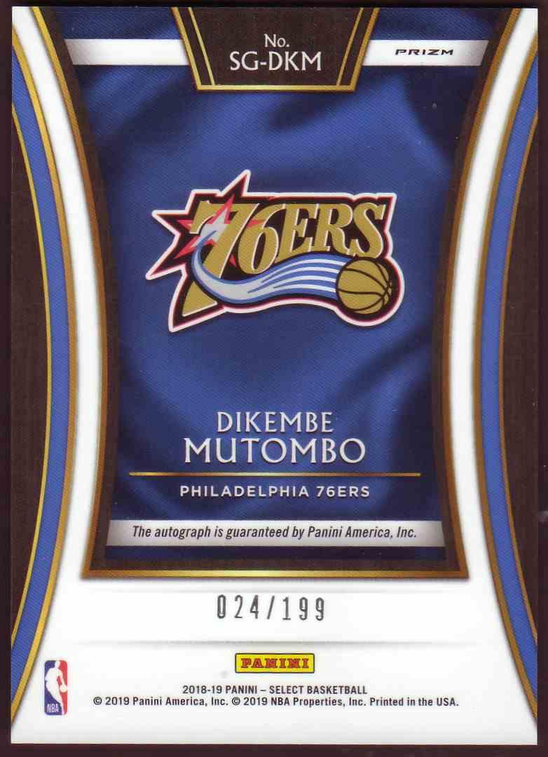 2018-19 Panini Select Signatures Dikembe Mutombo #SG-DKM card back image