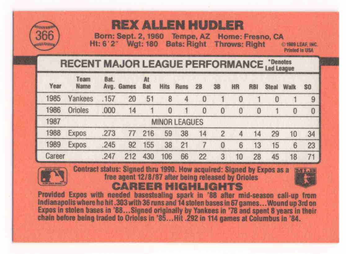 1990 Donruss Rex Hudler #366 card back image