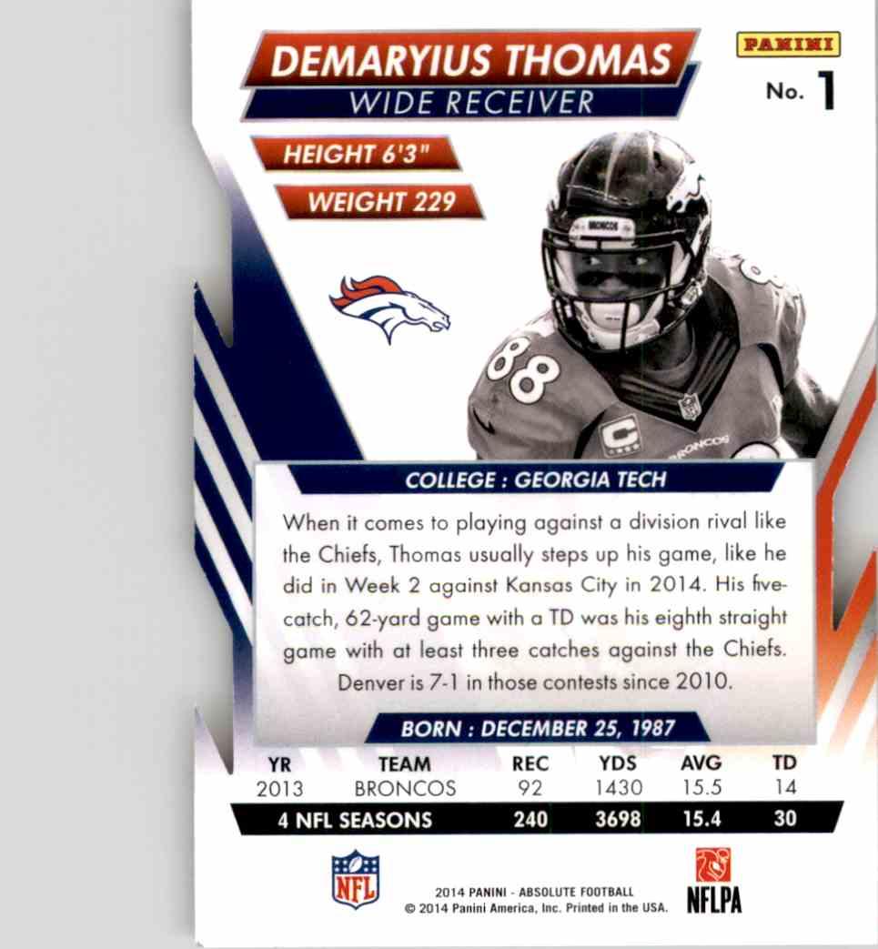 2014 Absolute Retail Demaryius Thomas #1 card back image