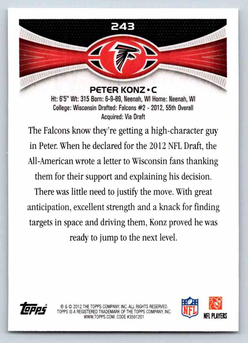 2012 Topps Peter Konz #243 card back image