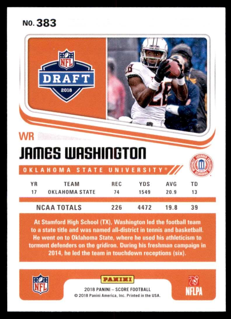 2018 Score James Washington #383 card back image