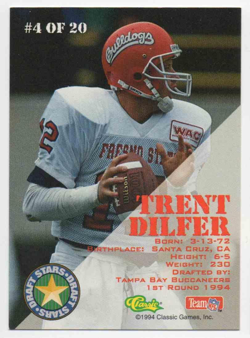 1994 Classic Draft Draft Stars Trent Dilfer #4 card back image