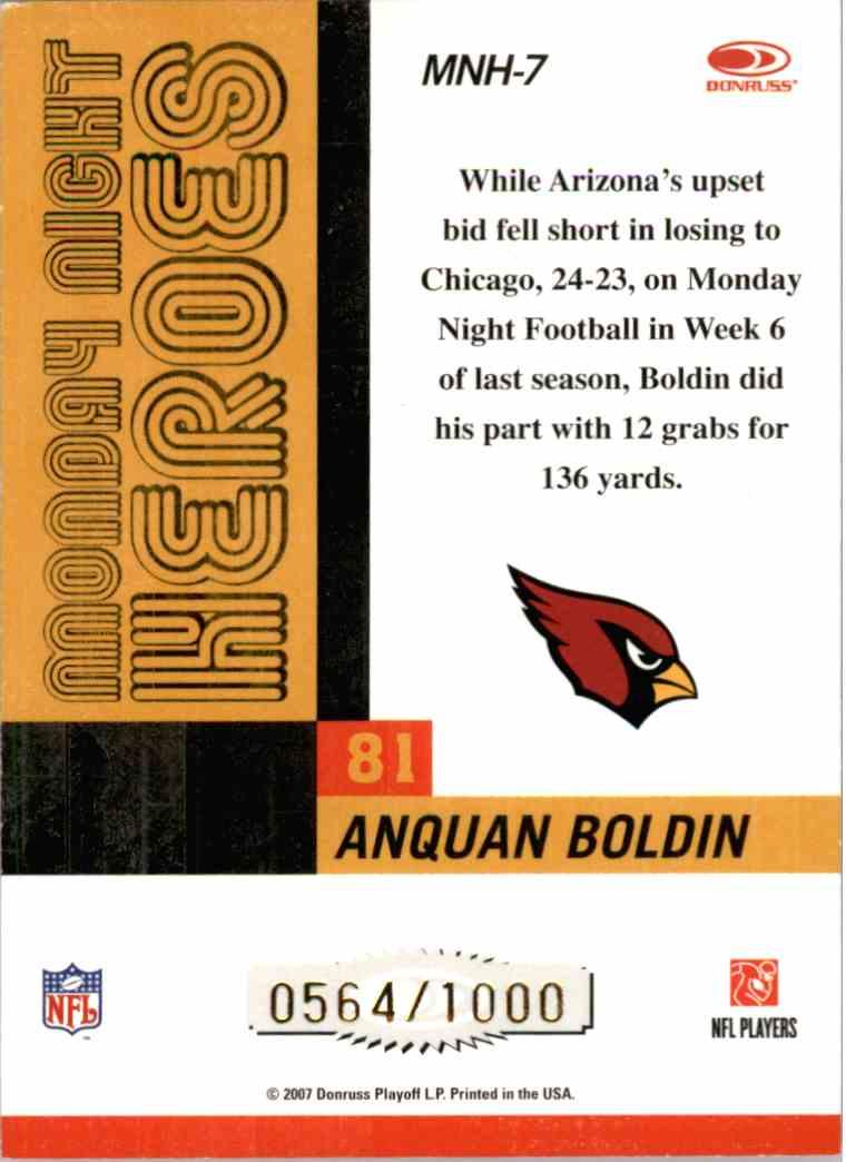 2007 Donruss Classics Anquan Boldin #MNH7 card back image