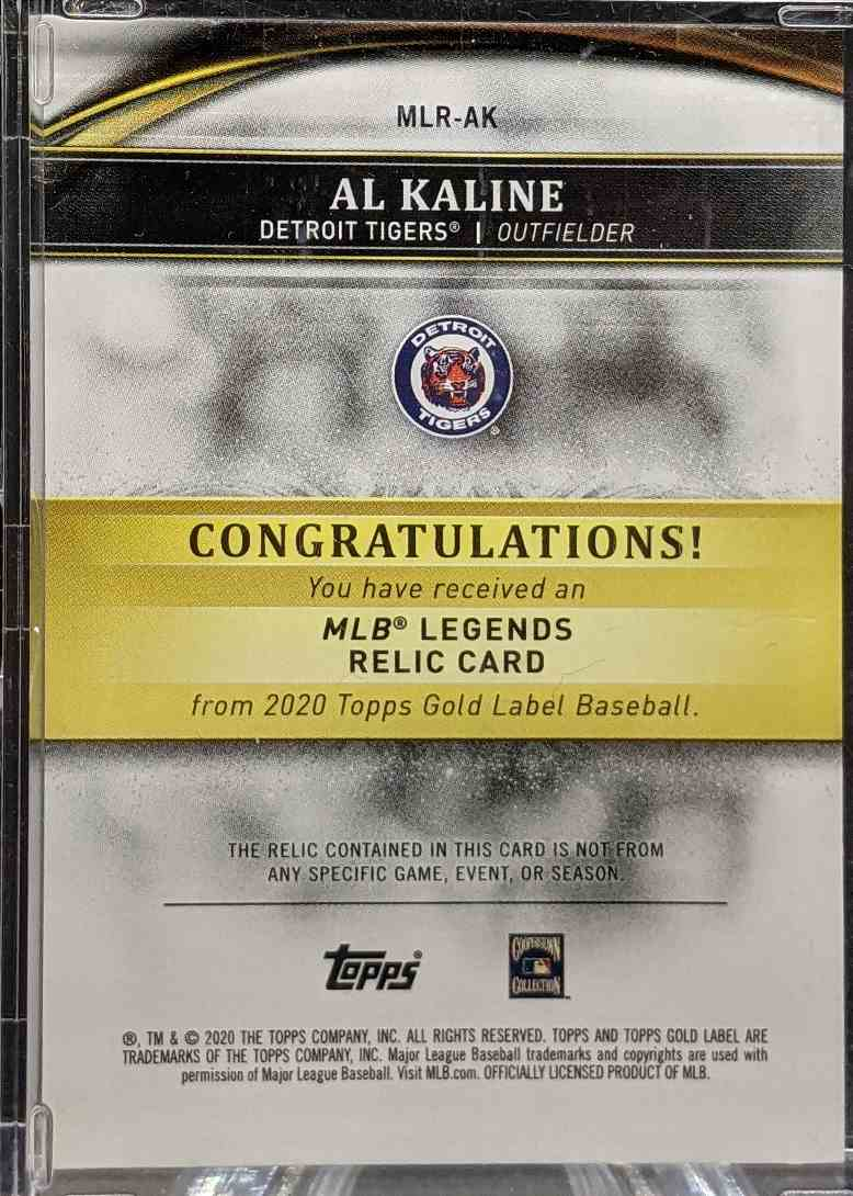 2020 Topps Gold Label Al Kaline #MLR-AK card back image