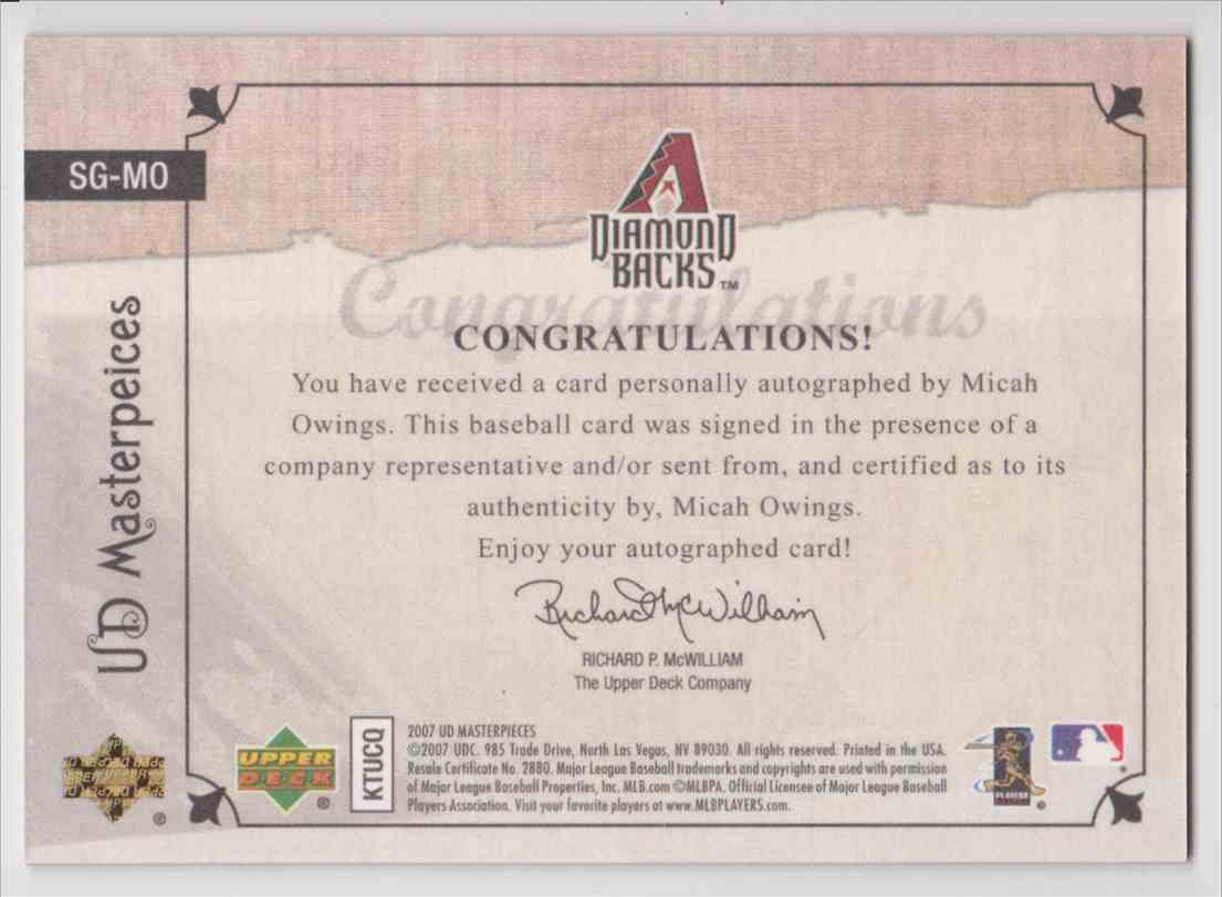 2007 UD Masterpieces Stroke Of Genius Autograph Micah Owings #SG-MO card back image
