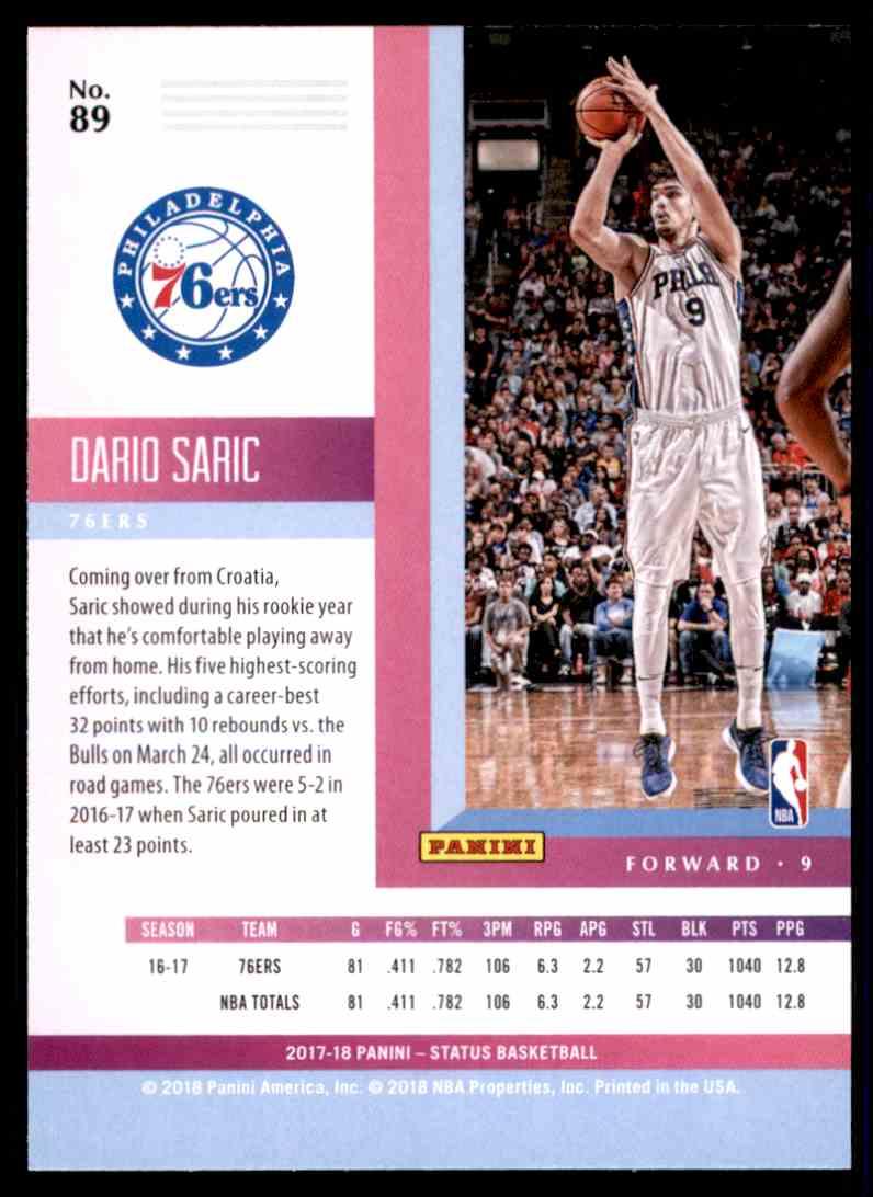 2017-18 Panini Status Dario Saric #89 card back image