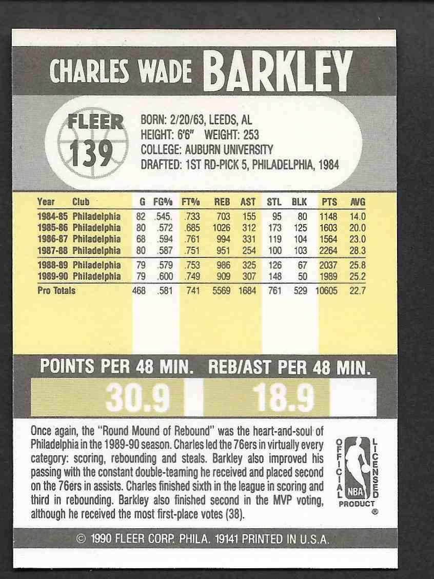 1990-91 Fleer Charles Barkley #139 card back image