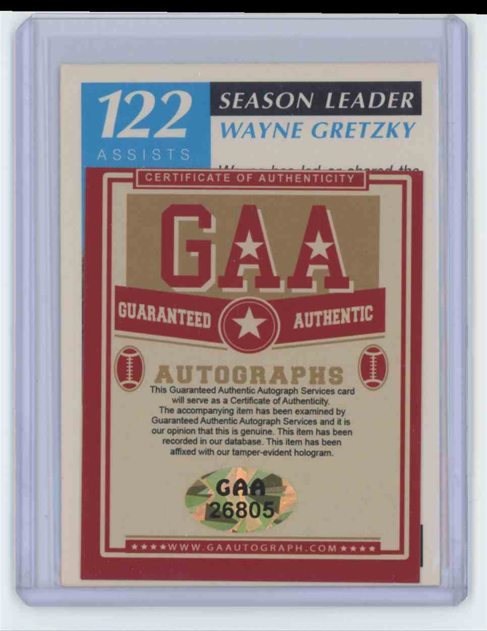 1991 1991-92 Score #295 Wayne Gretzky Season Leader 122 Assists Auto Wayne Gretzky #295 card back image